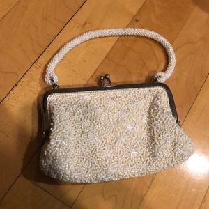 White beaded retro evening bag